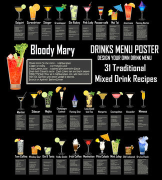 Cocktails and Beverages Menu - Highly realistic glasses & ingredients  - 31 Traditional recipes written by the artist