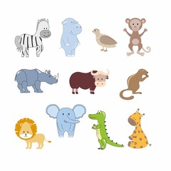 Set of children's illustrations animals of Africa. Hand-drawn clipart of Africa and savanna. Design of children's books, posters, clothing, textiles, rooms, stickers