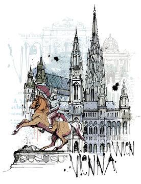 Handgezeichnete Wien Skizze auf einer Ebene reduziert