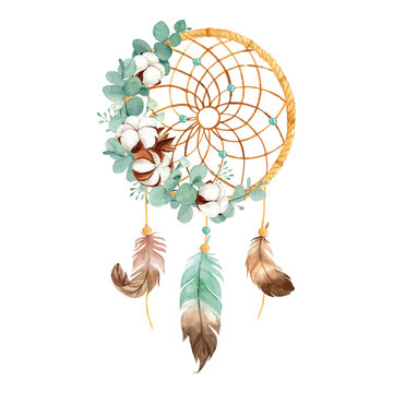 Watercolor Boho Dream Catcher with Dried Cotton Flower and Eucalyptus Leaves Perfect for Home decor