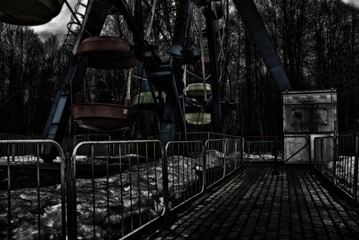 Fotobehang Amusementspark Old, scary and abandoned amusement park in Russia