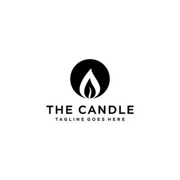 Modern candle light logo sign modern vector graphic abstract