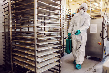 Man in protective suit and mask disinfecting food factory full of food products from corona virus /...