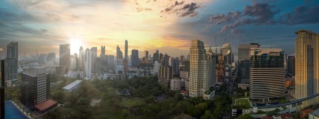 Poster Bangkok Beautiful panorama cityscape Bangkok skyline in sunset time,Thailand