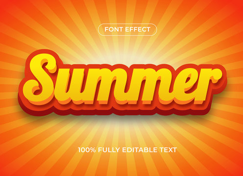 Summer 3d editable text effect, hot alphabet editable font