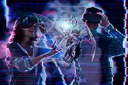 Girl and boy are playing in virtual reality game club. Young woman and man in VR glasses are gaming with realistic holograms in simulator. Entertainment and leisure concept. Modern technologies.