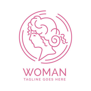 Luxury template of young beautiful woman face and hair logo in circle monoline.