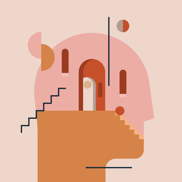Inner world. Thinking process. Open mind. Humans head silhouette with modern minimal architecture and abstract geometric shapes inside. Psychologic psychotherapy concept. Vector illustration