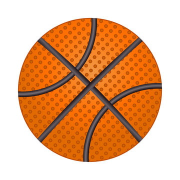 Basketball ball isolated on white background. Shiny textured basketball icon. Brown classic basketball. Design template for graphics, mockup. Athletic equipment element. Stock vector illustration