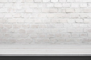Clean desk for product promotion. White brick wall in background