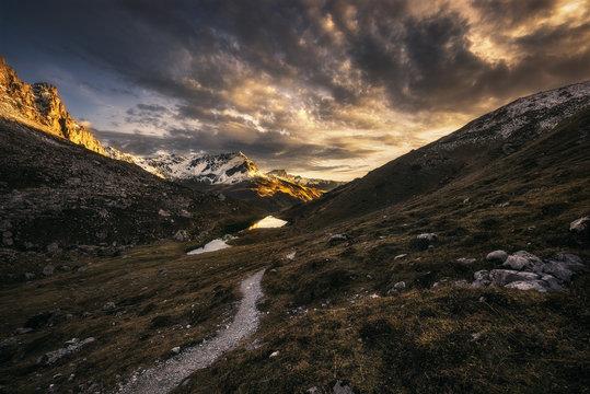 Golden evening mountains