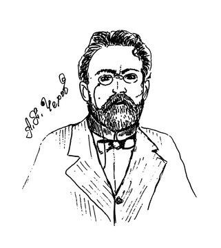 Anton Pavlovich Chekhov. Drawing of famous and historical known Russian character and person. Sketch or doodle on white background. Hand drawn portrait. Russian playwright and short-story writer.