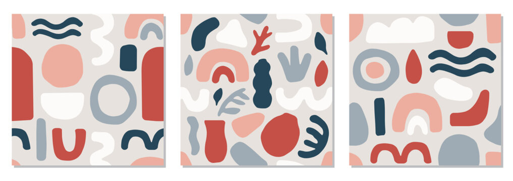 Cute set of trendy mid century modern seamless pattern with abstract organic shapes nature elements, vector illustration