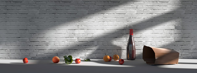 Fruits and wine on a white table near a white brick wall.