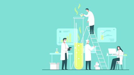 Vector concept illustration of a team of scientists wearing masks doing research in a chemistry lab. It represents a concept of scientific progress, important discoveries and chemical experiments