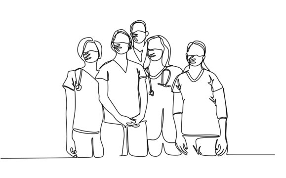 Continuous single line vector illustration of medical team in protective surgical mask