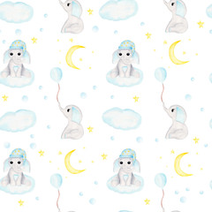 Seamless pattern with baby elephant, half moon, stars and clouds. Watercolor hand drawn illustration digital paper.