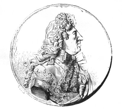 Engraving of Louis XIV in the old book La Gravure, by A. Lostalot, 1896, Paris