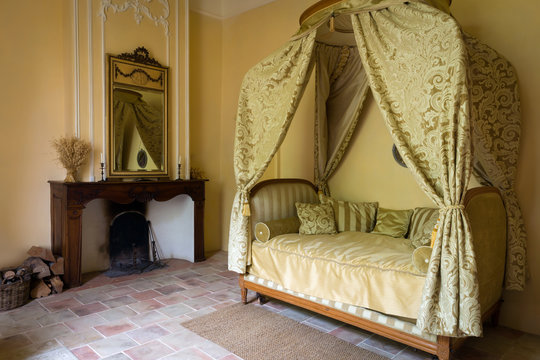 Antique bedroom in French medieval castle