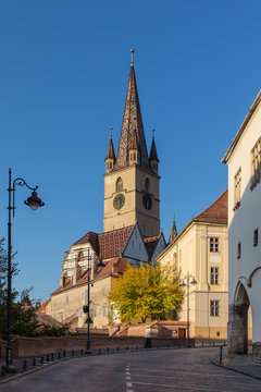 Lutheran Church with iconic bell tower in Sibiu on a beautiful sunny afternoon