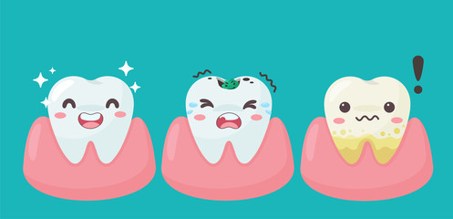 Cartoon teeth and gums inside the mouth are happy with the problem of tooth decay. There are plaque on the teeth.