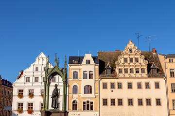 Häuserzeile am Markt in der Lutherstadt Wittenberg, Sachsen-Anhalt
