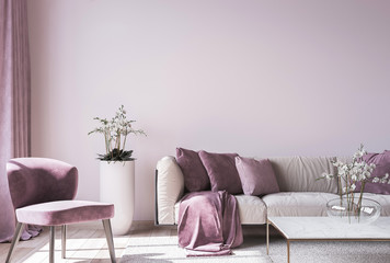 Modern sofa on light pink wall background with trendy home accessories, home decor interior, luxury living room