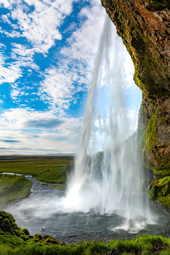 Seljalandsfoss waterfall in the southern part of Iceland