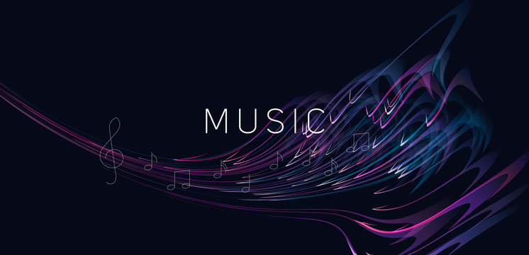 Abstract dynamic composition of melody or music made of of bright lines with notes and violin clef, symphony art poster