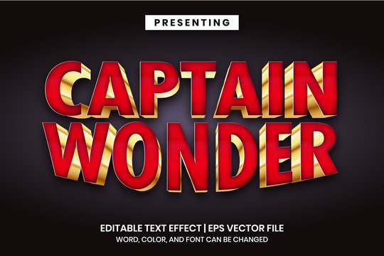 Captain wonder - Superhero movie logo style editable text effect