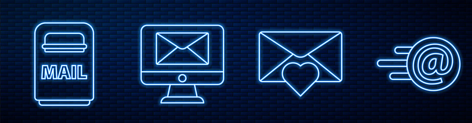 Set line Envelope with Valentine heart, Mail box, Monitor and envelope, Mail and e-mail and Received message concept. Glowing neon icon on brick wall. Vector
