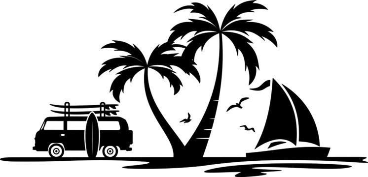 Palm Beach Van Surf Silhouette Vector