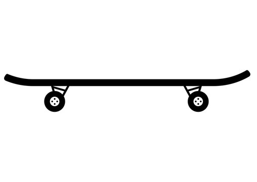 Skateboard. Vector flat icon illustration isolated on white background. Skateboard simple icon in glyph style. Vector