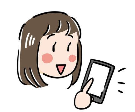 女の子がネット通販や検索のためにスマホをタッチ(タップ)している