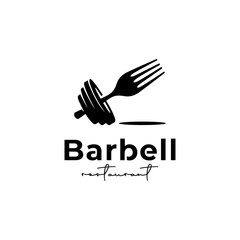 creative restaurant icon with fork and barbell logo design vector illustration