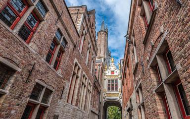 Fotomurales - Typical brick facade buildings in old town of Bruges, Belgium.