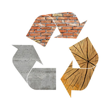 Recycling symbol of concrete, wood and bricks