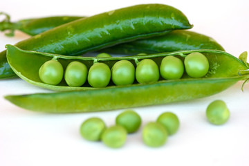 Green Peas fresh vegetable isolated on white background