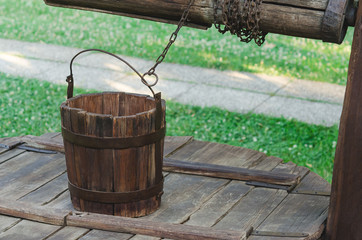 Wooden bucket of a rural rustic well