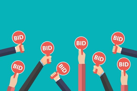 Hands holding auction paddle isolated on blue background. Auction and bidding sale process concept