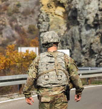 Kosovo; Jarinje crossing; October 25th; Close up of back of American NATO soldier