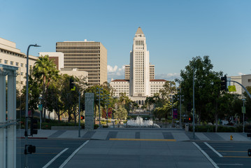 LOS ANGELES, CA, MAR 2020: City Hall, administration, and court buildings seen from Grand Park in Civic Center area, Downtown
