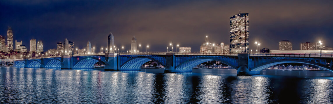 Longfellow bridge over the river at night