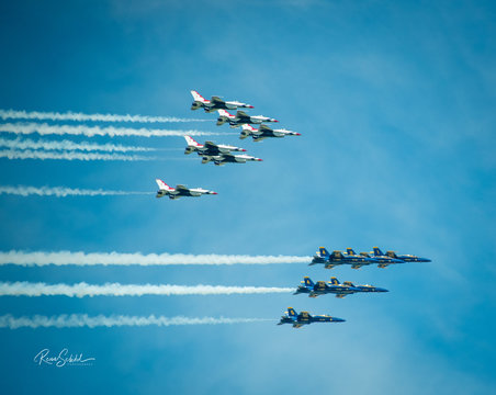 The US Air Force's Thunderbirds and the US Navy's Blue Angels on a flyover in the Washington DC region during the  COVID-19 pandemic
