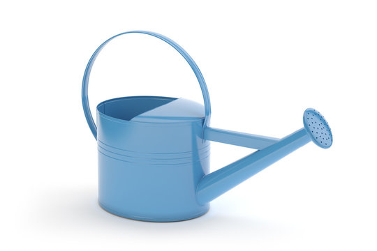 Blue watering can isolated on white, 3d illustration