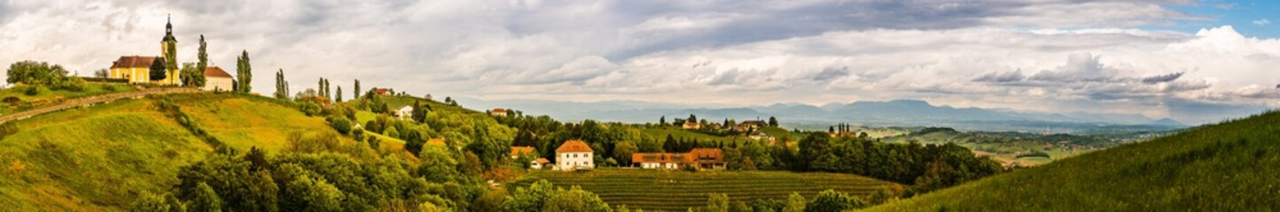 Austria vineyards landscape. View at panorama of small village Kitzeck.