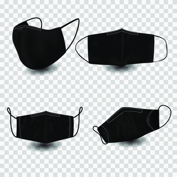 Protective cloth mask covid-19 illustration. fabric black mask on transparent,realistic blank front, back and side view set for brand promo.eps10.