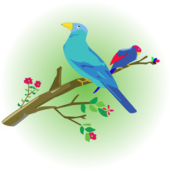 Wall Murals Birds, bees doodle bird perched on a branch with small flowers around