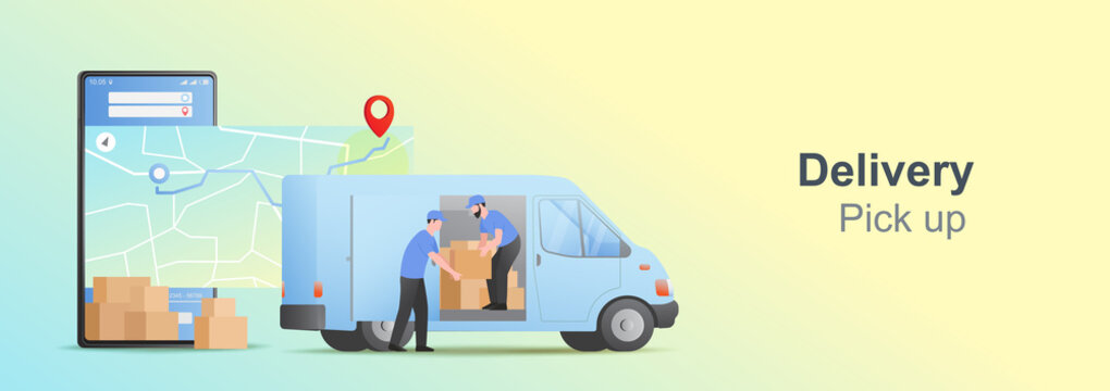 Mobile online pickup and delivery concept. Online order tracking on mobile. Delivery package with van. E-commerce Vector illustration