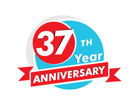 37 years anniversary logotype. Celebration 37th anniversary celebration design
